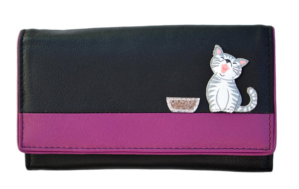 Mala Leather Ziggy Cat Black Large Flap Over Purse