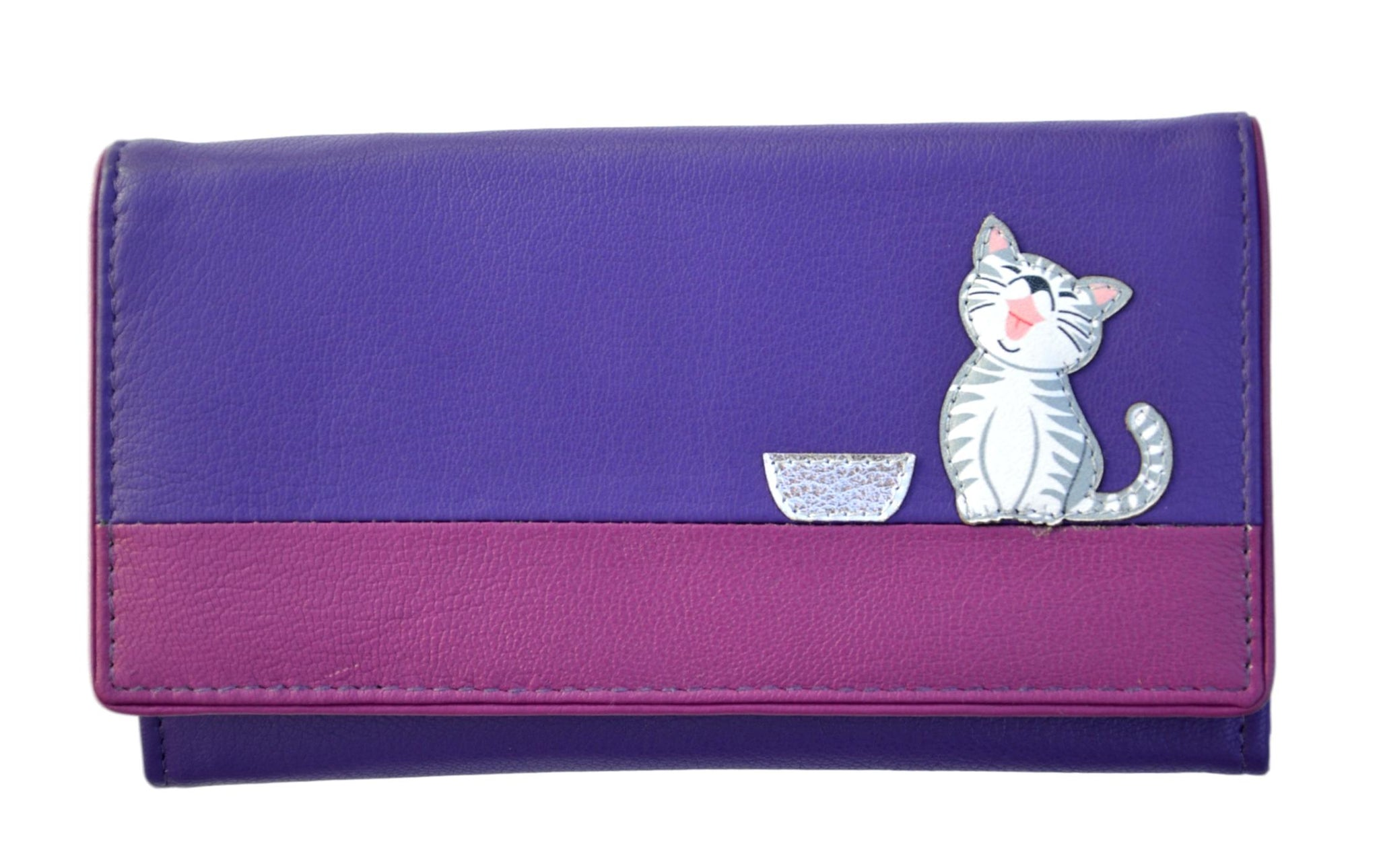 Mala Leather Ziggy Cat Purple Large Flap Over Purse
