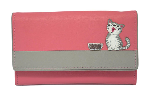 Mala Leather Ziggy Cat Pink Large Flap Over Purse