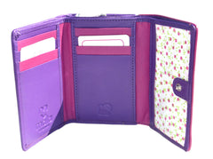Mala Leather Ziggy Cat Tri Fold Cat Purse Purple