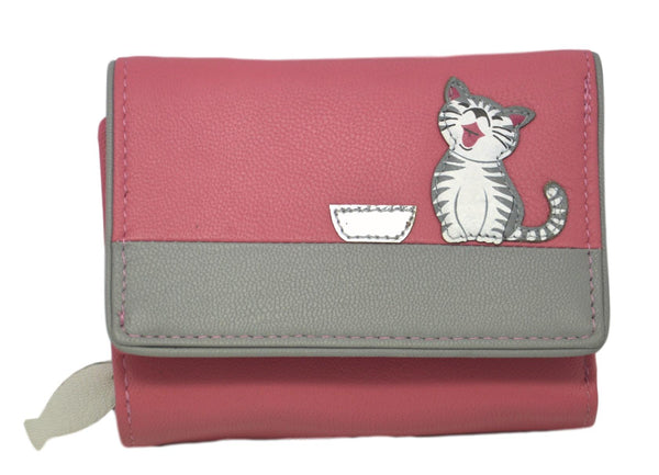 Mala Leather Ziggy Cat Tri Fold Cat Purse Pink