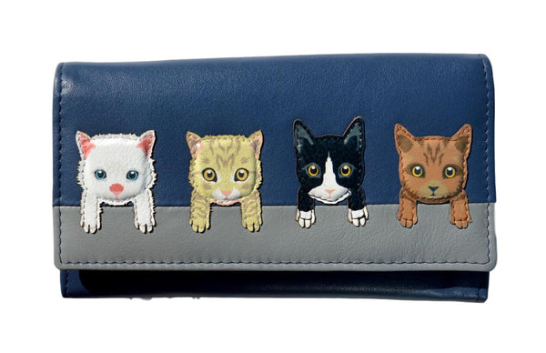 Mala Leather Navy Blue Cats on Wall Purse