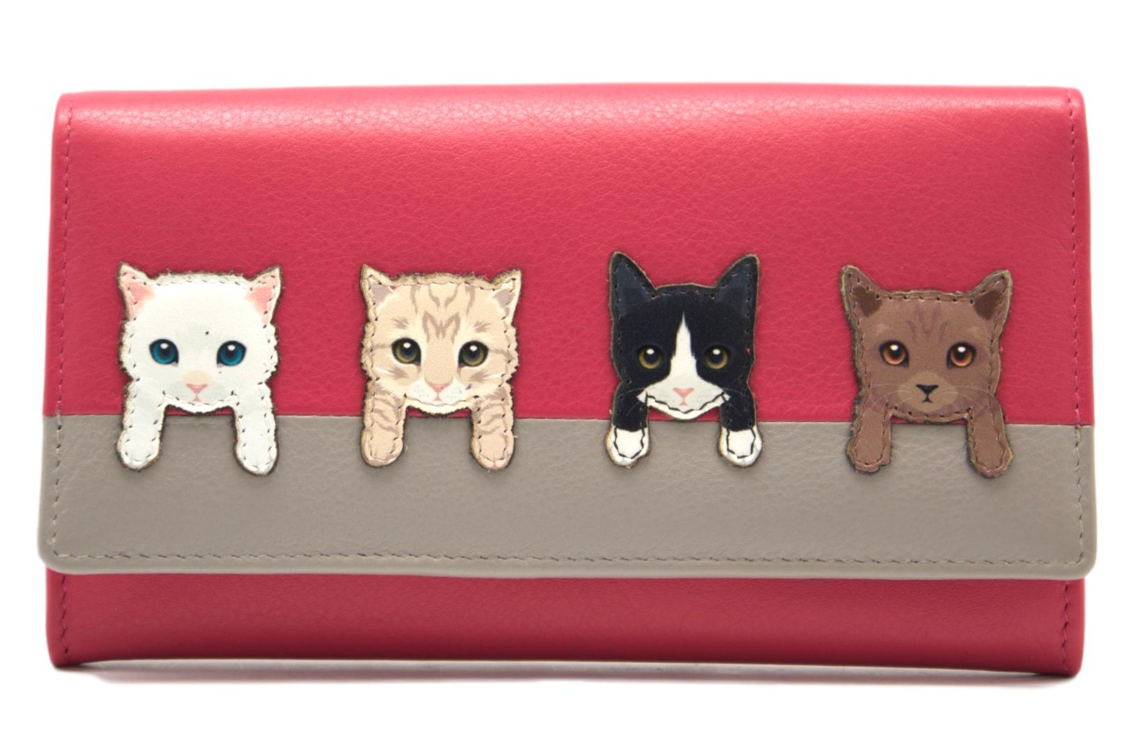 Mala Leather Pink Cats on Wall Purse