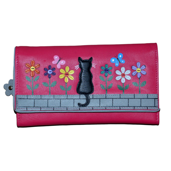 Mala Leather Zorro Tri Fold Large Cat Purse Pink