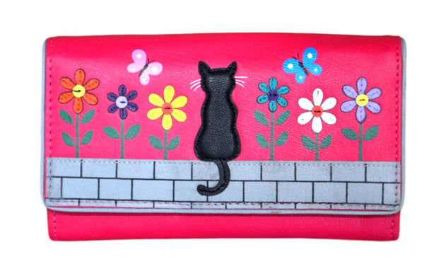 Mala Leather Zorro Cat Pink Large Flap Over Purse