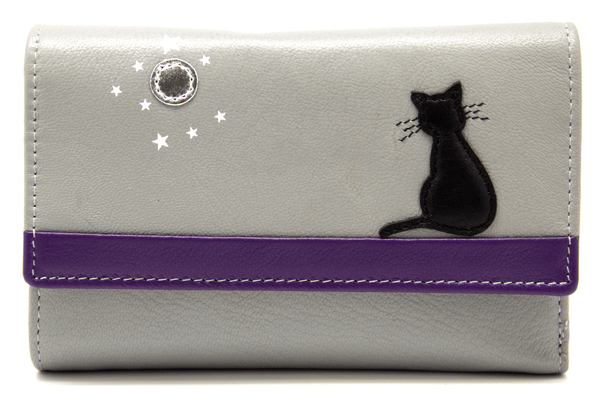 Mala Leather Midnight Cat Tri Fold Grey Purse