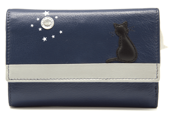 Mala Leather Midnight Cat Tri Fold Navy Blue Purse