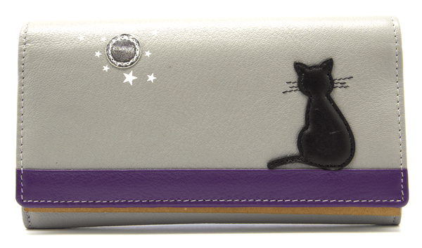 Mala Leather Grey Midnight Black Cat Purse
