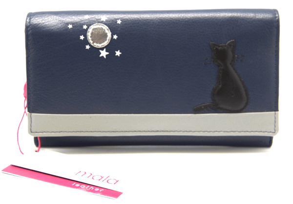 Mala Leather Navy Blue Midnight Black Cat Purse
