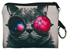 Galaxy Glasses Cat Small Coin Purse