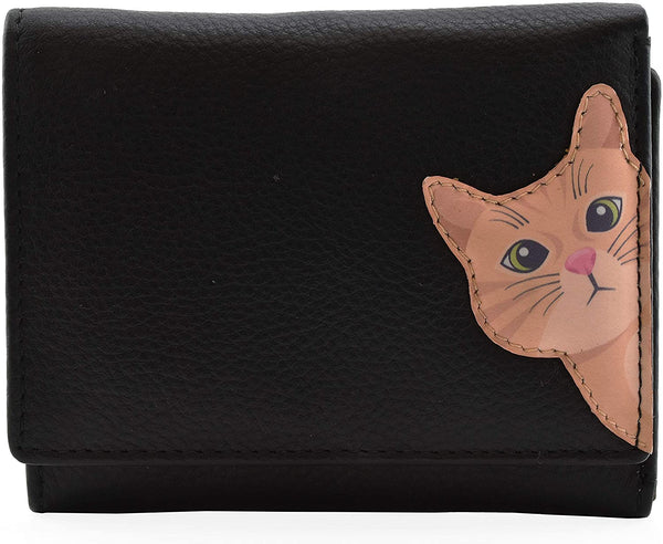 Mala Leather Cleo the Cat Small Tri Fold Cat Purse Black