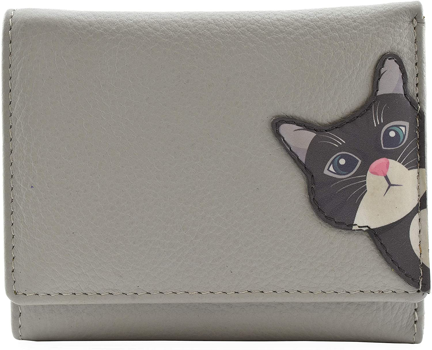 Mala Leather Cleo the Cat Small Tri Fold Cat Purse Grey