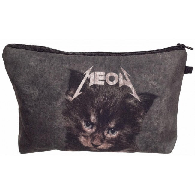 Grey Meow Cat Make-Up / Clutch Bag