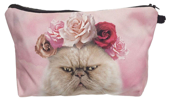 Roses Cat Make-Up / Clutch Bag