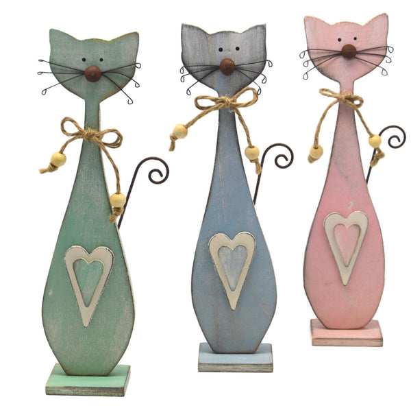 Patch Works Pastel Wooden Cats, Set of 3