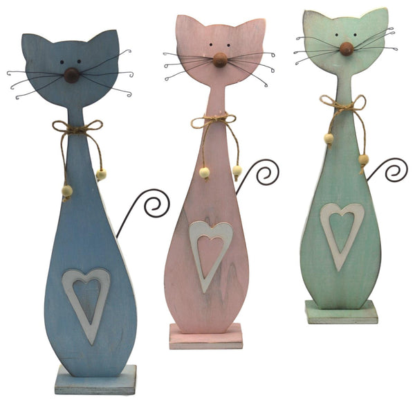 Large Patch Works Pastel Wooden Cats, Set of 3