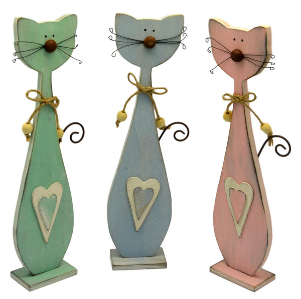 Medium Patch Works Pastel Wooden Cats, Set of 3