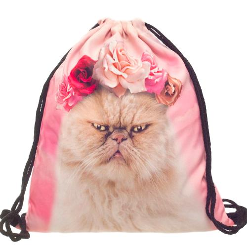 Roses Cat String Backpack