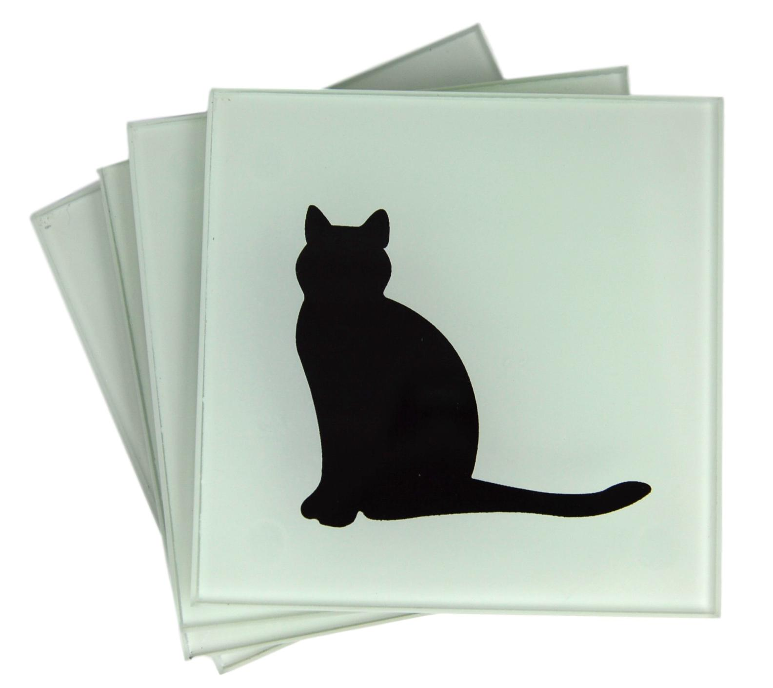 Set of 4 Frosted Glass Silhouette Cat Coasters