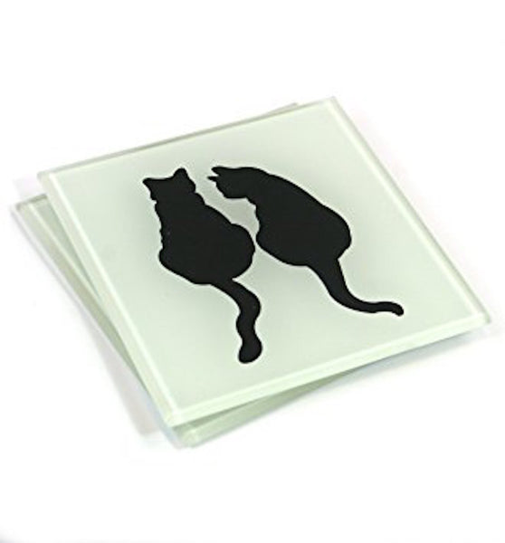 Set of 4 Frosted Glass Silhouette Couple Cat Coasters