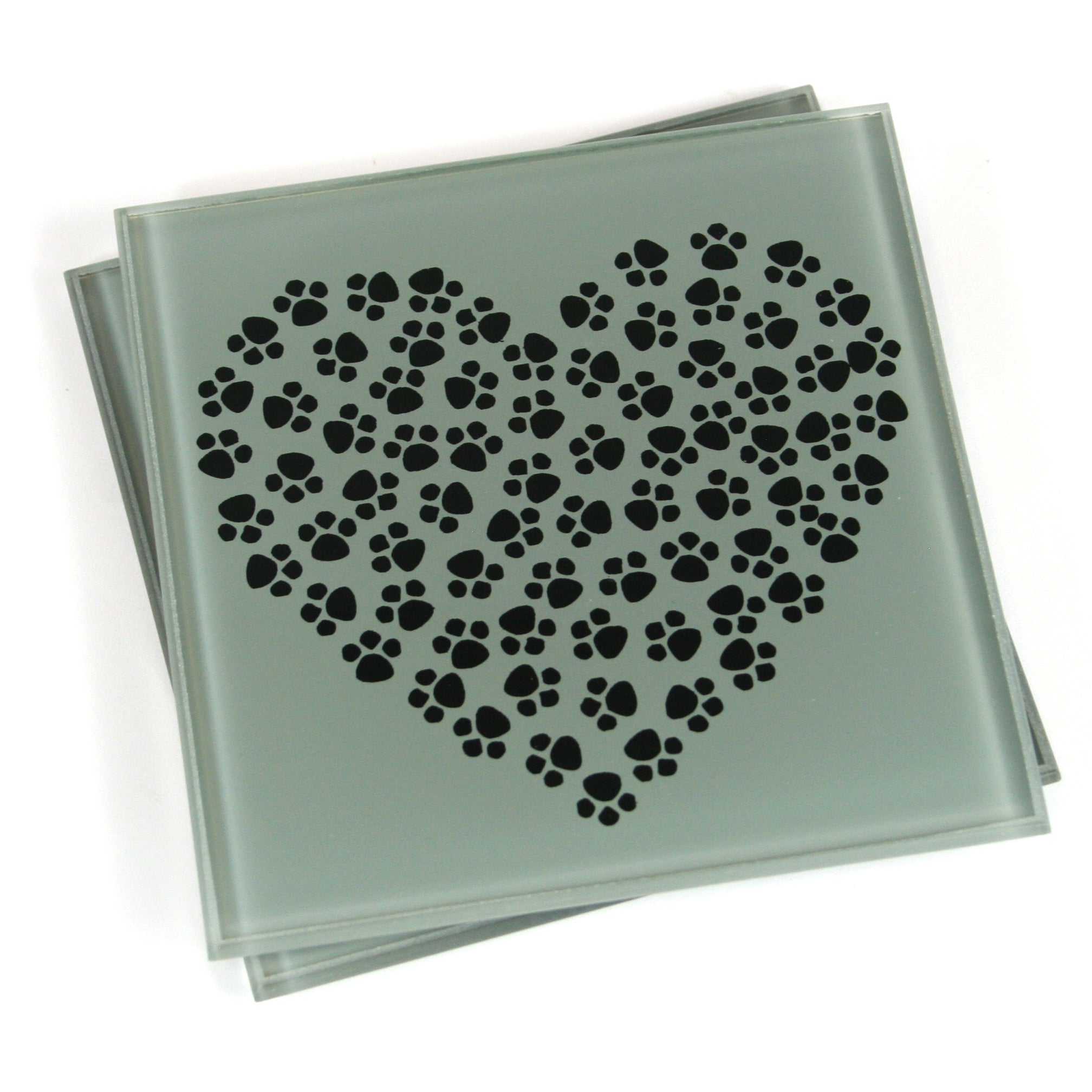 Set of 2 Glass Heart Paw Print Cat Coasters