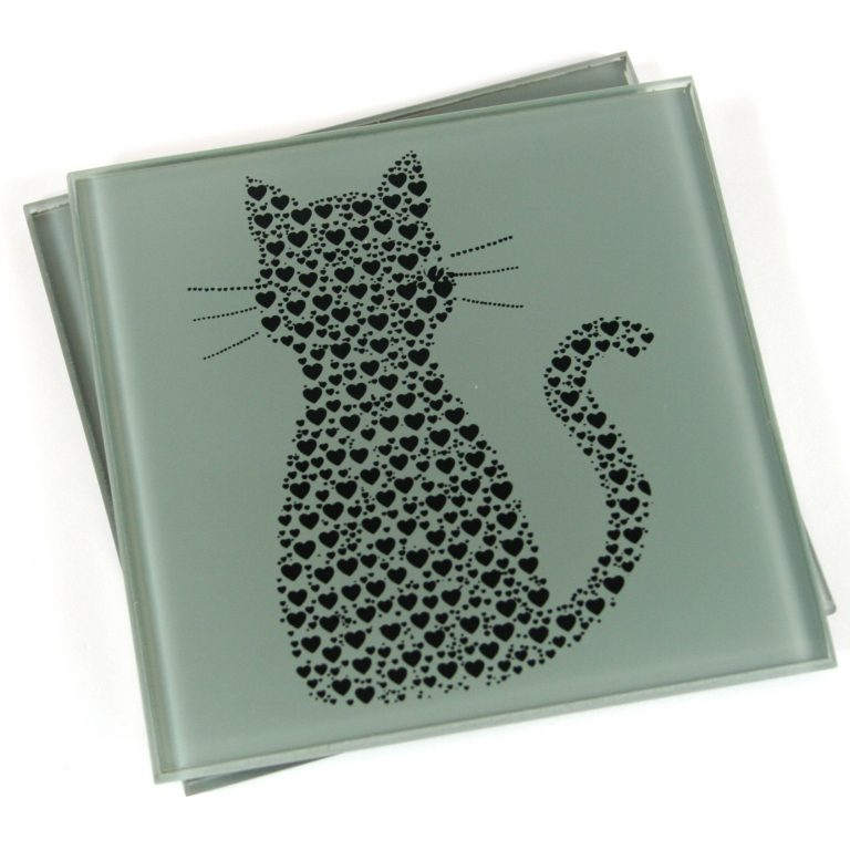 Set of 2 Glass Small Heart Cat Shaped Coasters