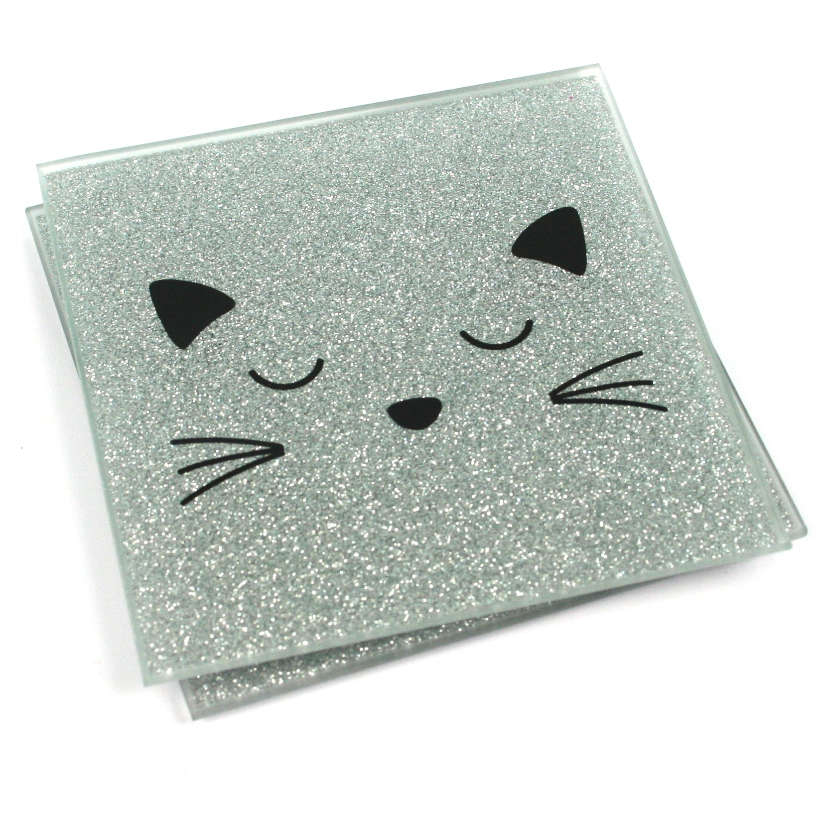 Set of 2 Glass Glitter Black Cat Face Coasters