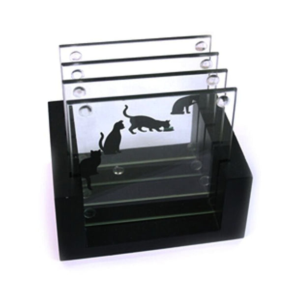 Set of 4 Glass Cat Story Coasters