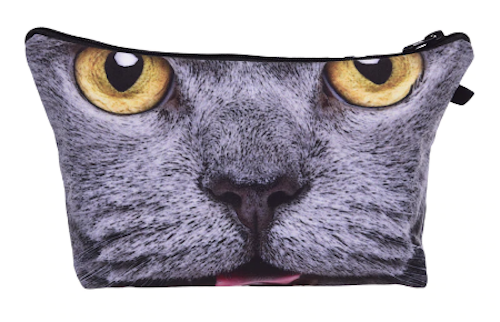British Blue Cat Grey Make-Up / Clutch Bag