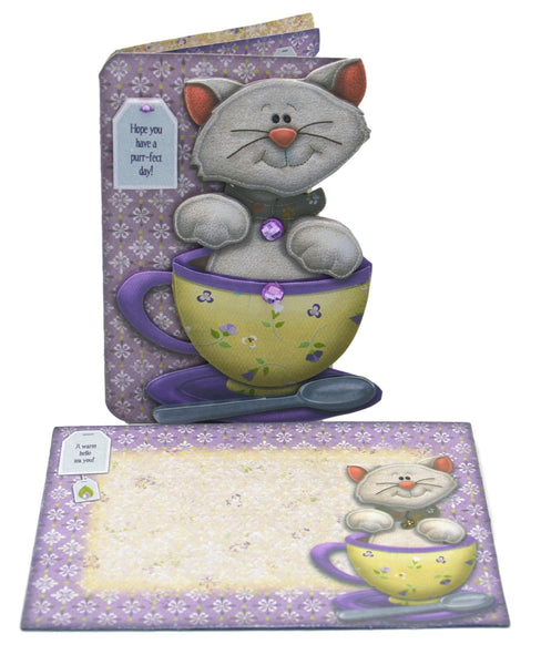 Cat in a Teacup Birthday Card