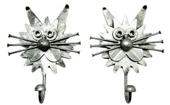 Pair of Nuts & Bolts Metal Cat Hooks