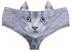 Grey Cat Hipster Panties