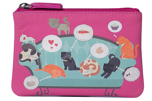 Mala Leather Cats on the Sofa Coin Purse Pink