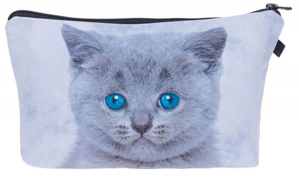 Grey Blue Eye Cat Make-Up / Clutch Bag