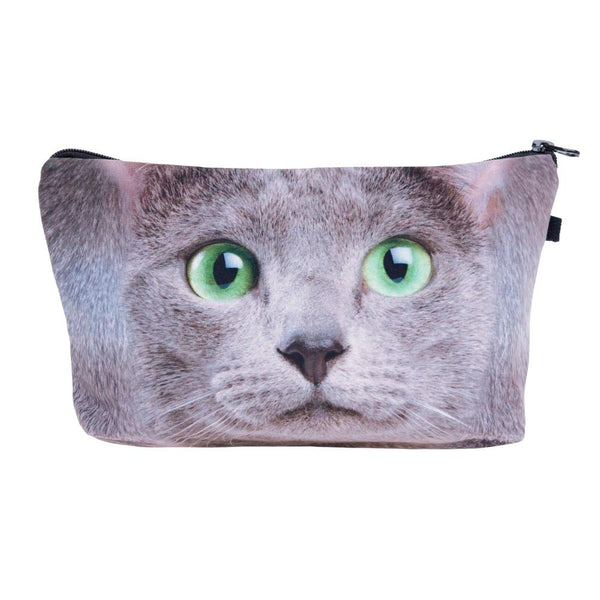 Green Eye Grey Cat Make-Up / Clutch Bag