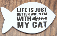 Set of 4 Fish Shape Black & White Cat Magnets