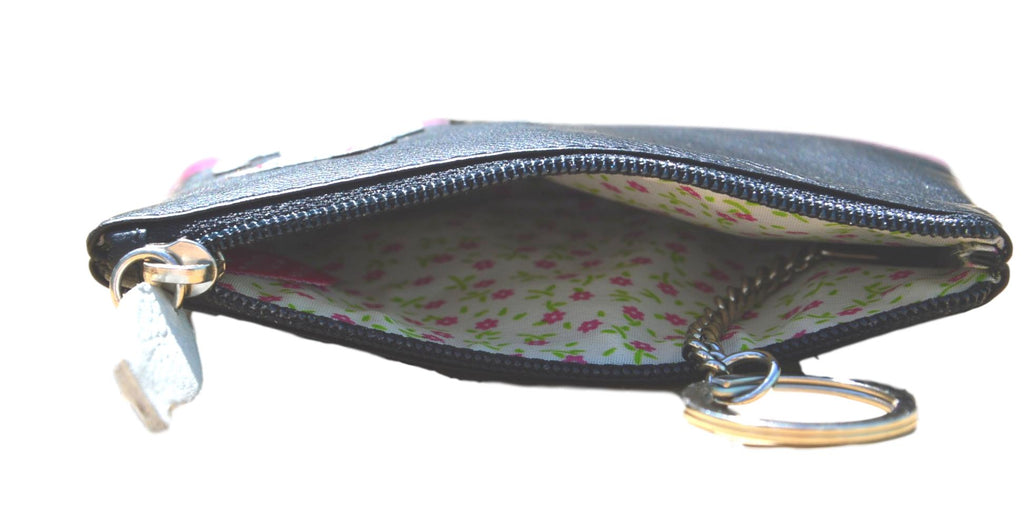 Mala Leather Small Black Ziggy Cat Coin Purse