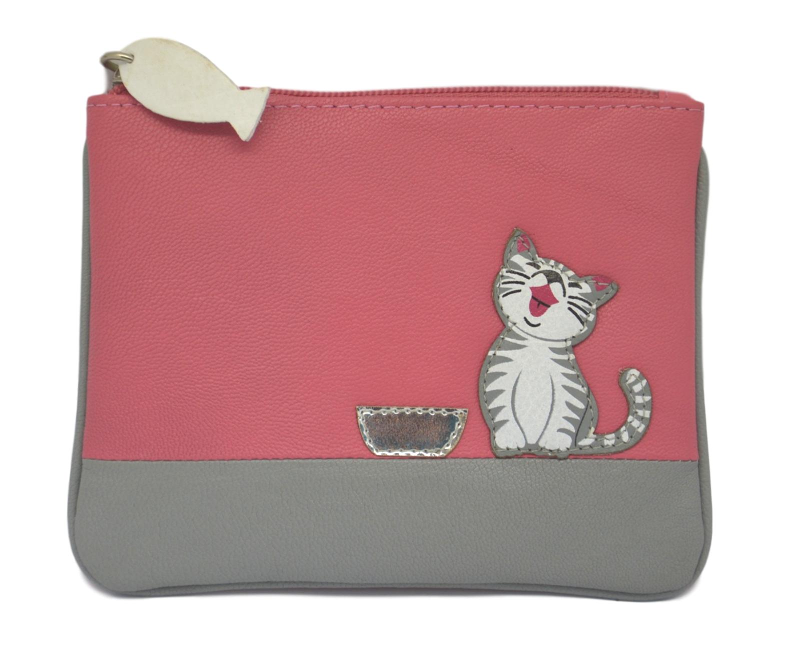Mala Leather Small Pink Ziggy Cat Coin Purse