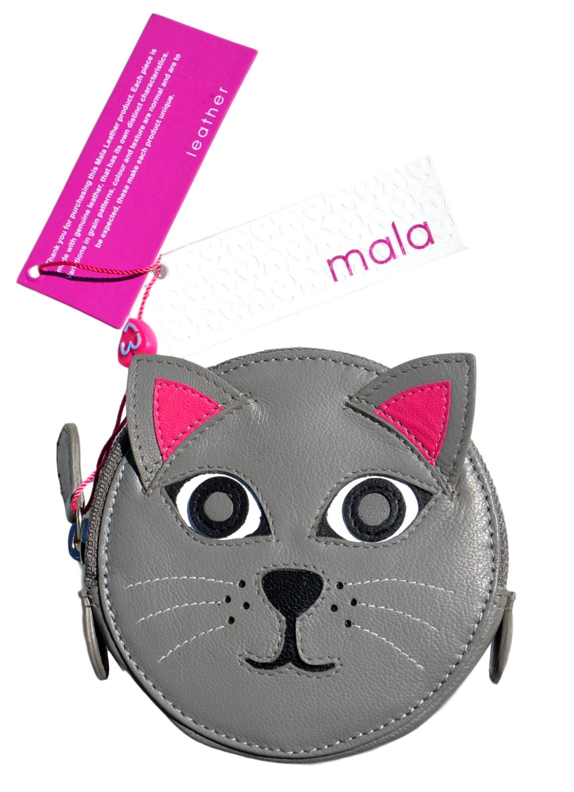 Mala Leather Pinky Cat Round Coin Purse