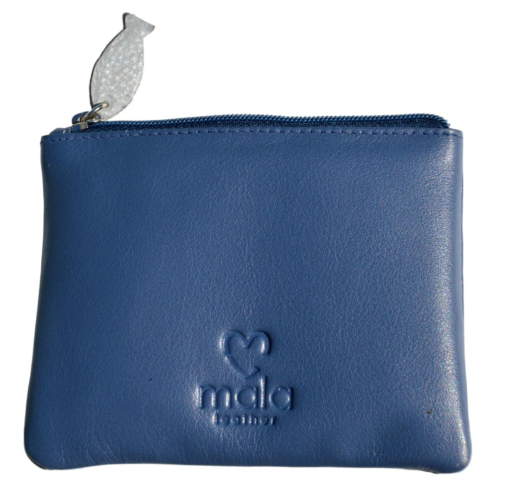 Mala Leather Small Navy Blue Cats on Wall Coin Purse