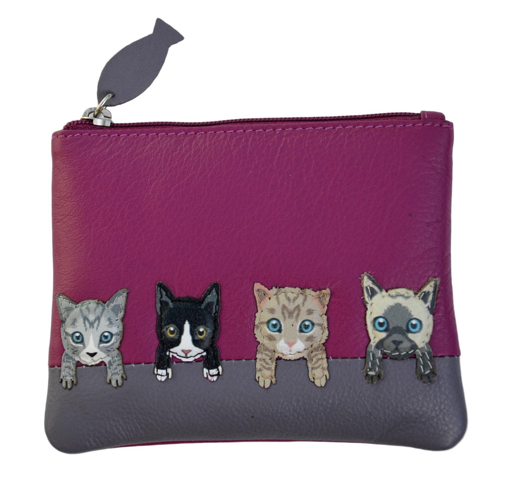 Mala Leather Small Pink Cats on Wall Coin Purse