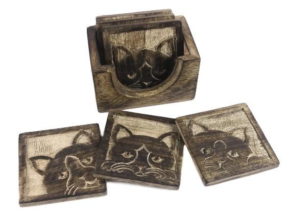 Rustic Wooden Cat Face Coasters