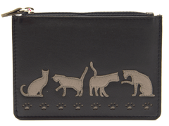 Mala Leather Poppy Cat Black Card & Coin Holder