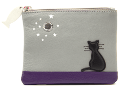 Mala Leather Midnight Cat Grey Coin Purse
