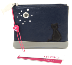 Mala Leather Midnight Cat Navy Blue Coin Purse