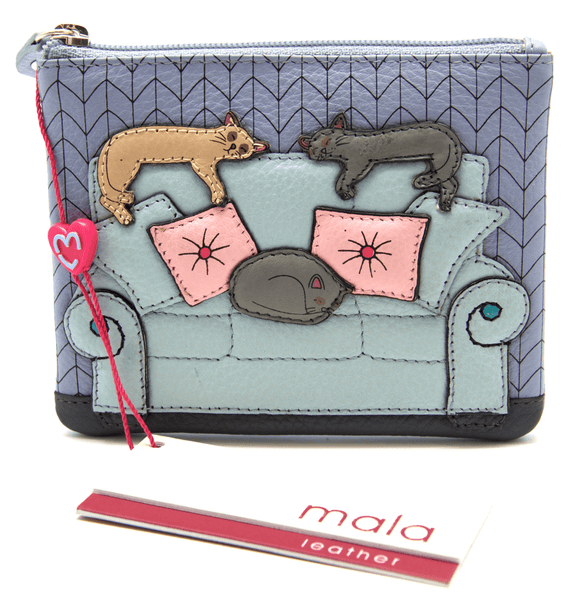 Mala Leather Lazy Days Blue Cat Coin Purse
