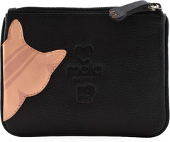 Mala Leather Cleo the Cat Coin and Card Purse Black
