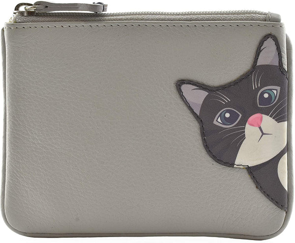 Mala Leather Cleo the Cat Coin and Card Purse Grey
