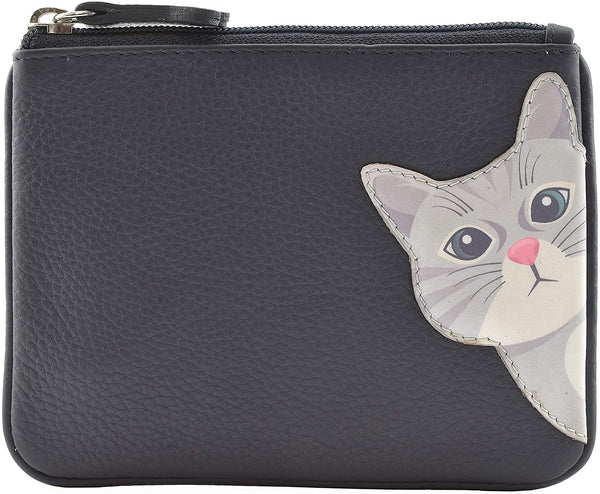 Mala Leather Cleo the Cat Coin and Card Purse Navy