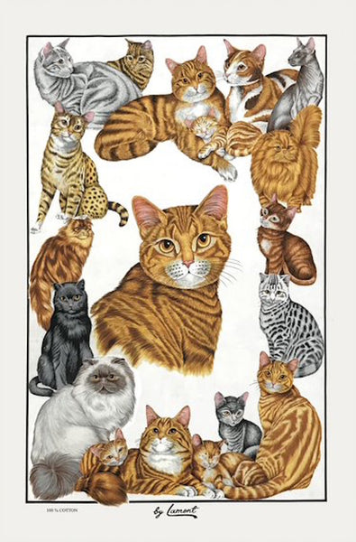 Feline Friends Cat Cotton Tea Towel